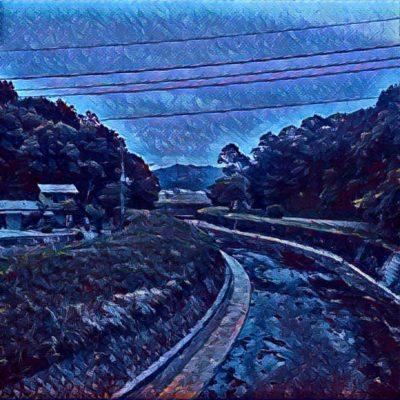 田舎の風景。夜。