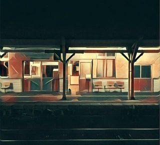 鳥取県倉吉駅のホーム
