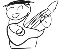 ギターを弾く人の笑顔