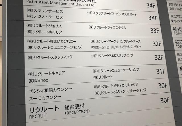 リクルートエージェント大阪支社の案内図