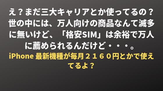 格安SIMを使うメリット。とにかく安い。三大キャリアとかメリット無いですよ。