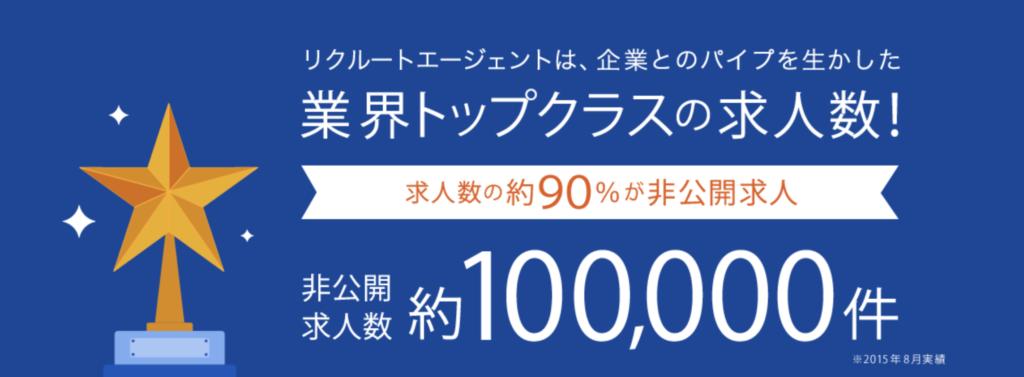 リクルートエージェントの非公開求人は約100000件。2015年8月の実績。