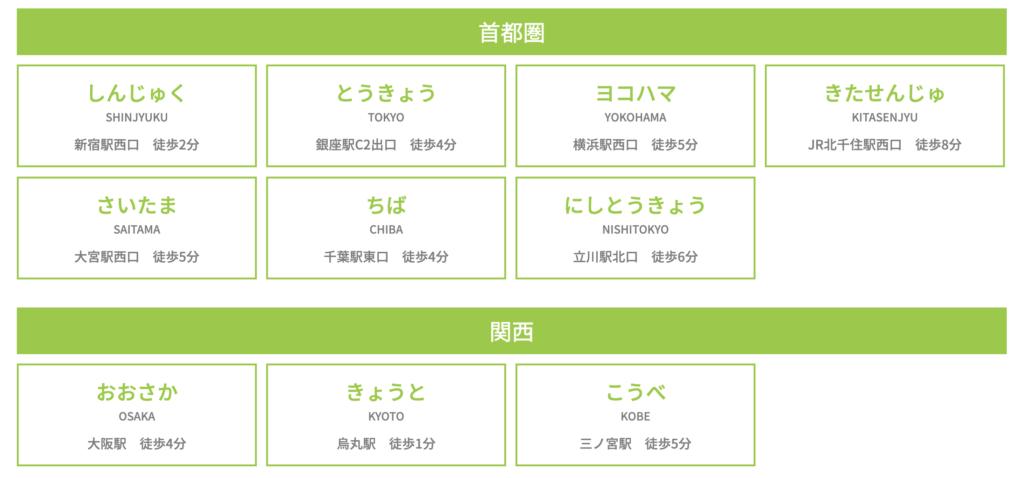 就職ショップの店舗は関東に7拠点、関西に3拠点です。