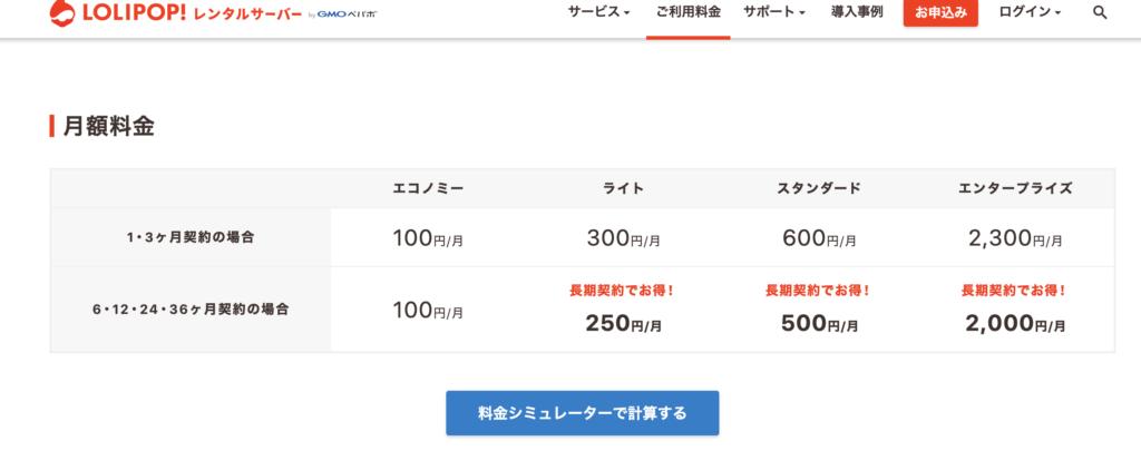 ロリポップ!サーバーの毎月のコスト表。スタンダードプラン毎月500円でOK。