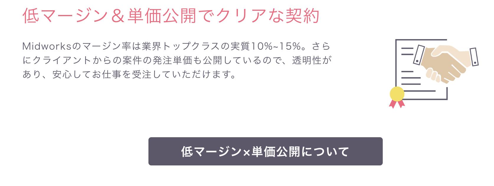 Midworksのマージンは業界トップクラスの低さ。実質10%から15%です。