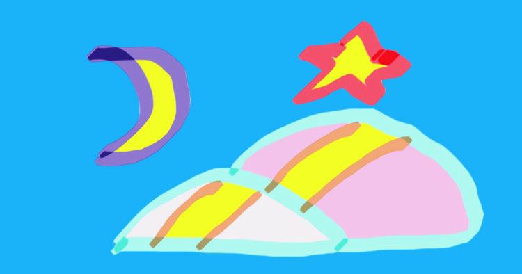 ダリーウメモが書いた月と星と坂道の絵