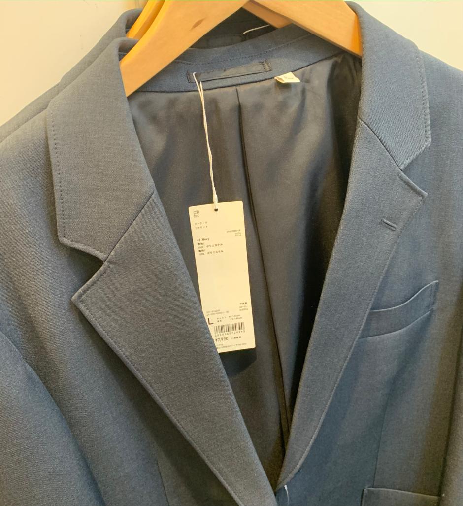 ユニクロU2020MEN春夏のテーラードジャケットNAVY色の画像