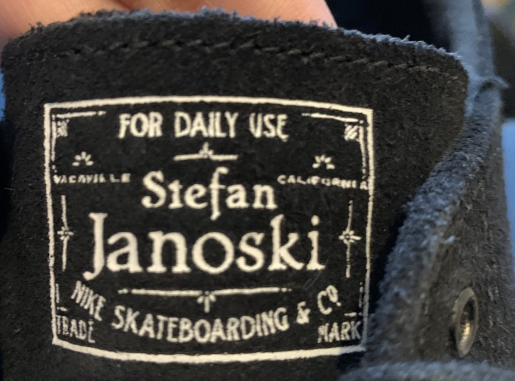 "Nike Stefan Janoski's show tongue written ""FOR DAILY USE"""