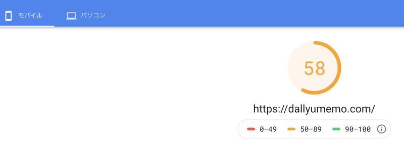 SANGOの高速化策を実行。その結果モバイルで58点になった時のページスピード インサイトの画像