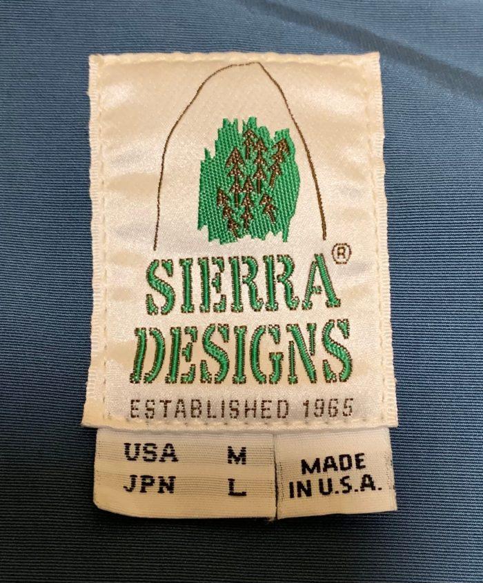 SIERRA DESIGNSロクヨンクロスマウンテンパーカーの実際のサイズ表記の画像。USAサイズM、JPNサイズはL